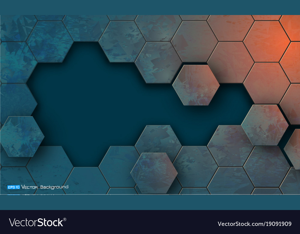 Grunge texture with hexagons segments