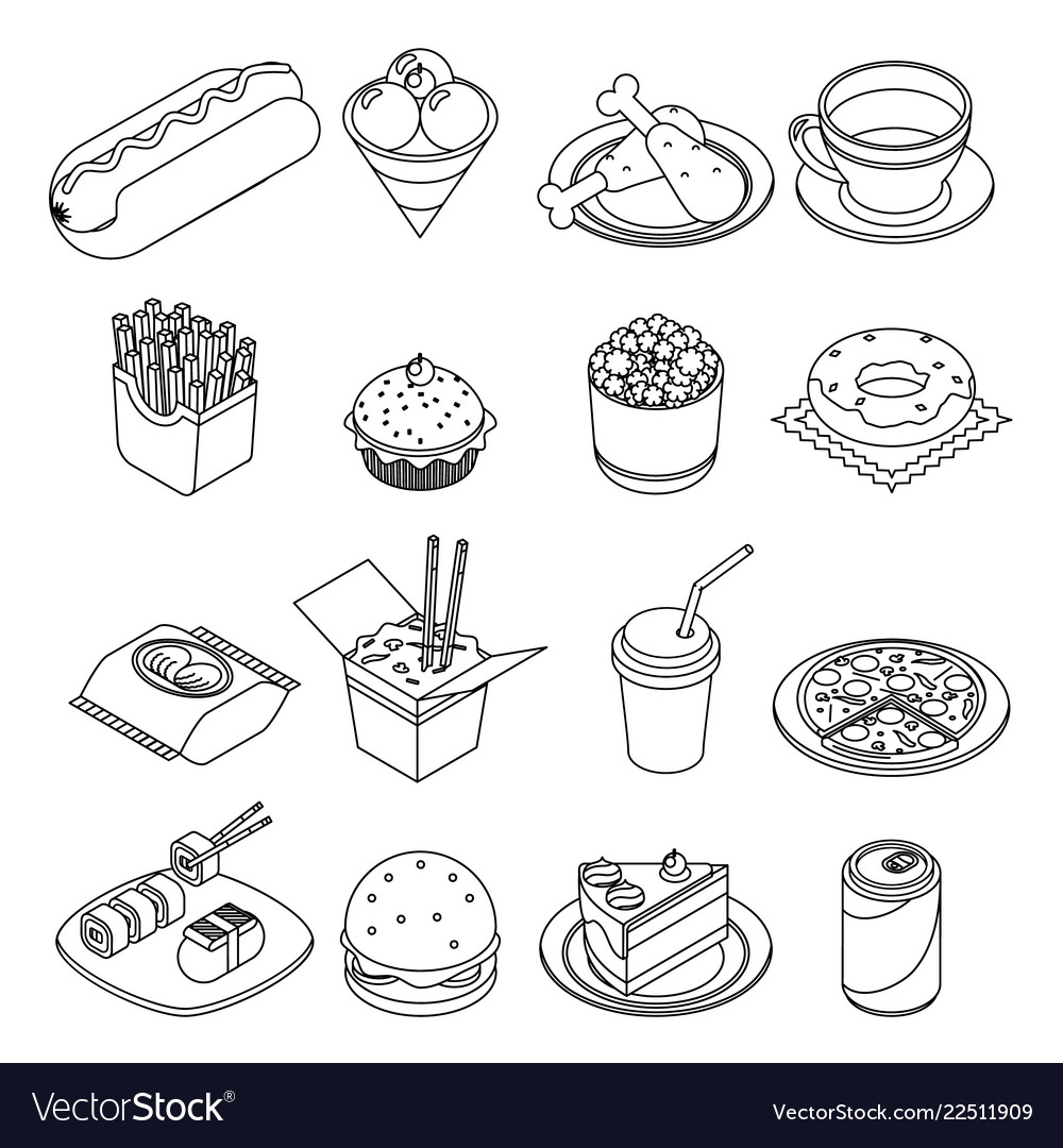 Lineart isometric fast food icons set design