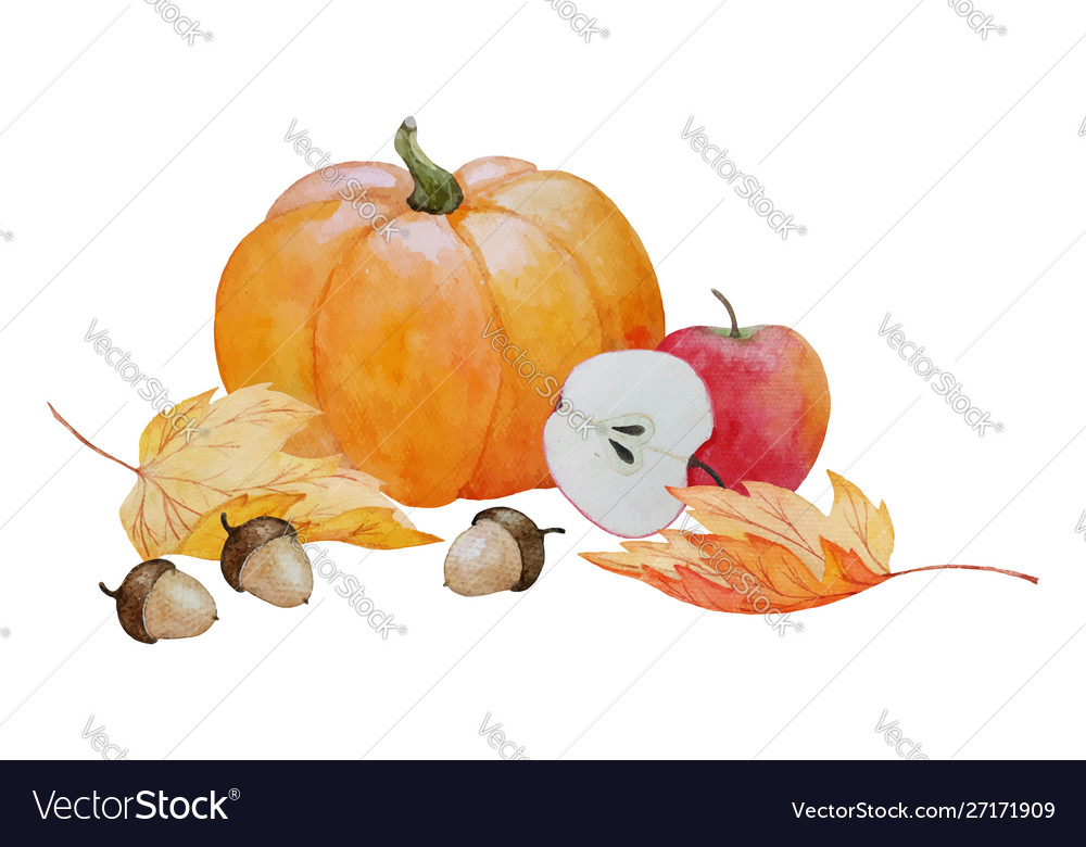 Pumpkin and acorns composition