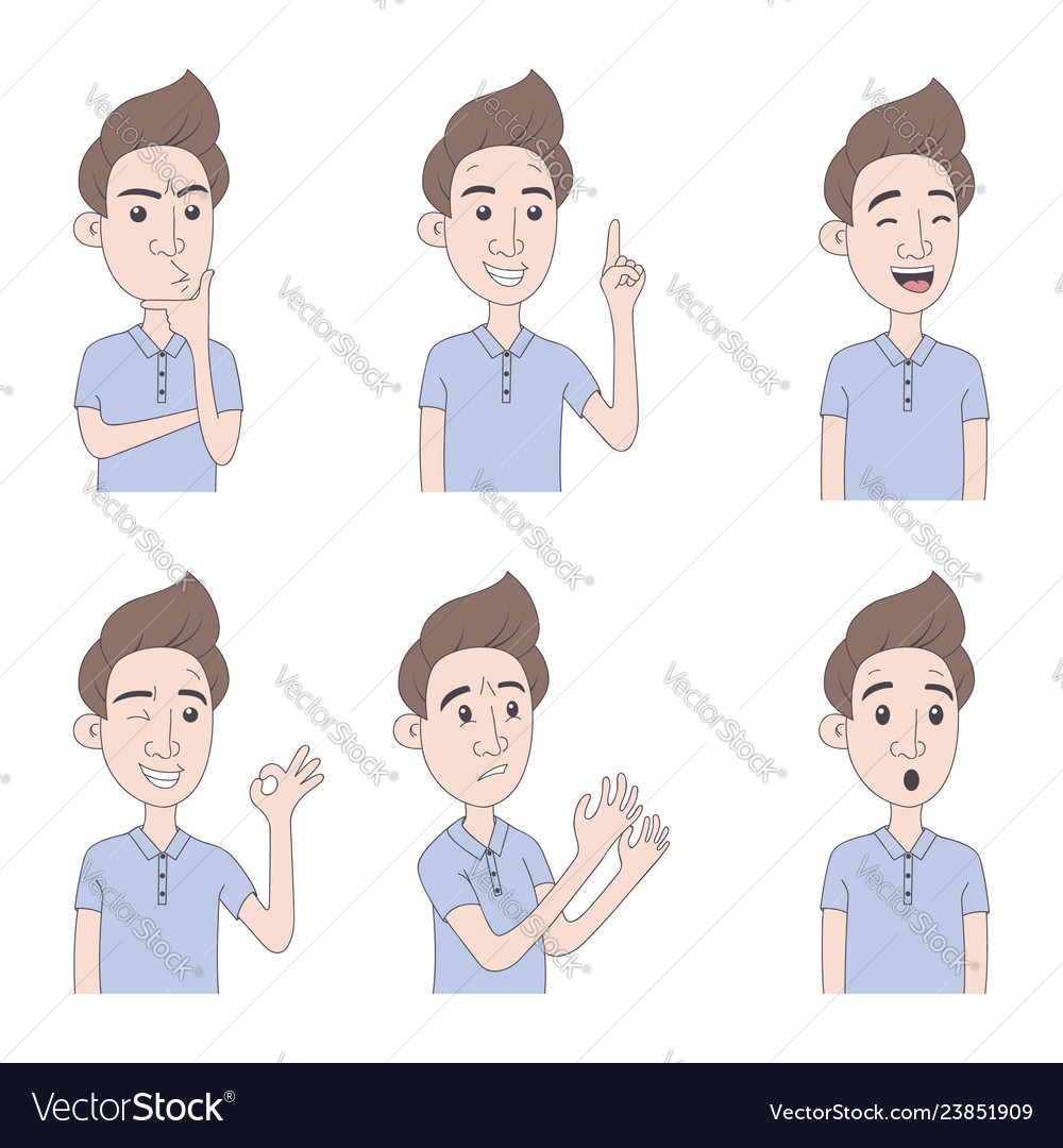 Set of man expressions