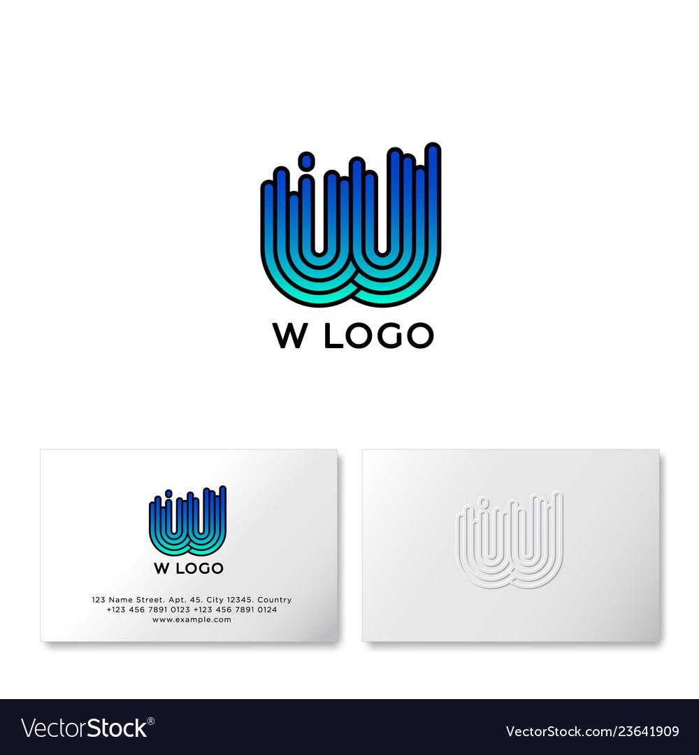 W letter linear logo water icon identity