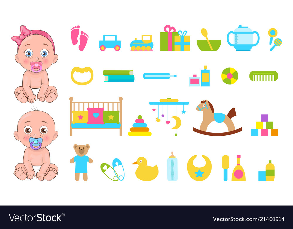 Baby s toys collection icons