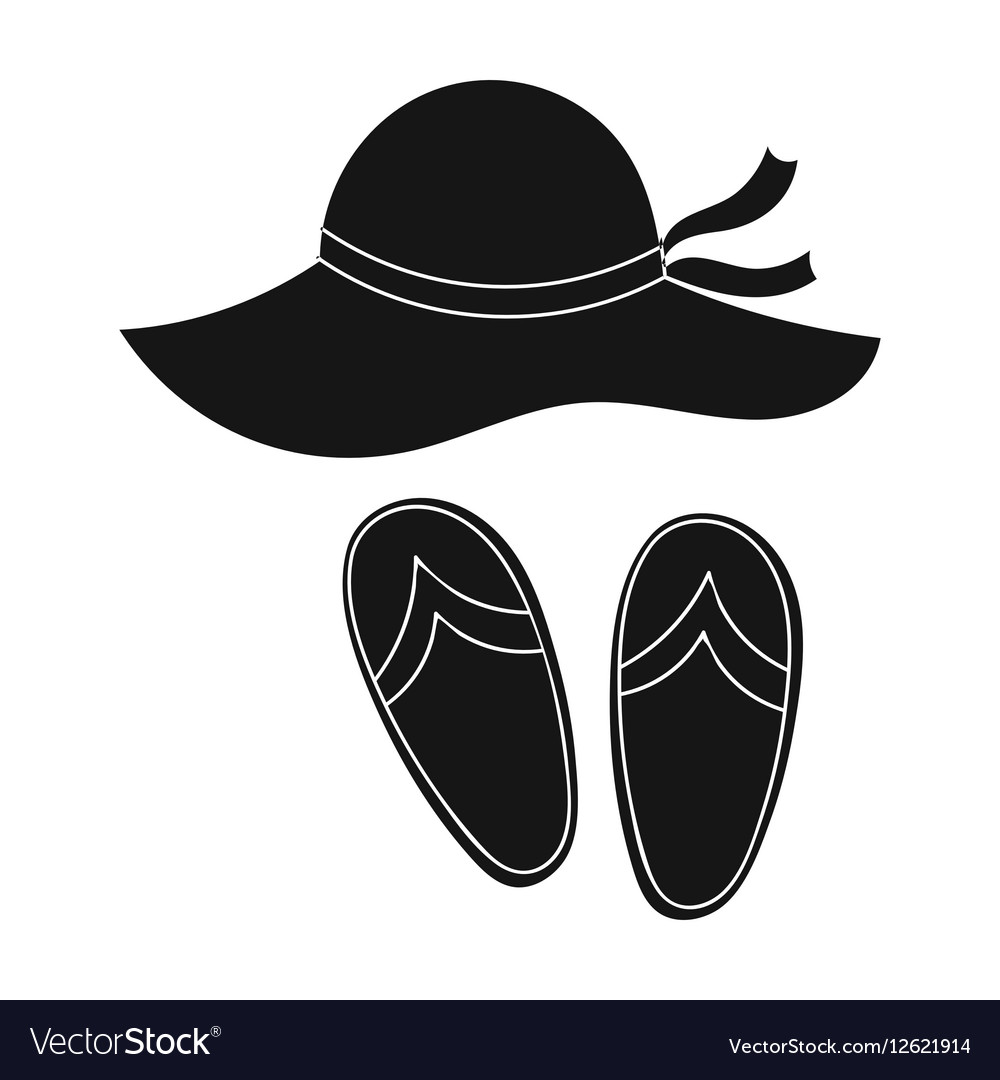 Beach hat with flip-flops icon in black style Vector Image 5d52139046d