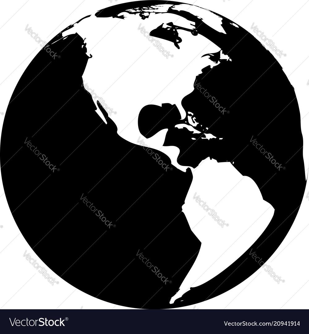 Black And White Globe Vector Image
