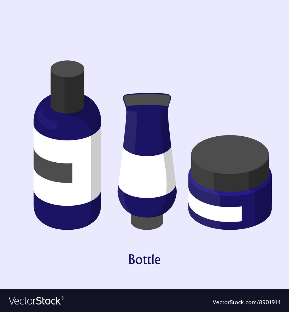Bottles for shampoo in a beauty salon Isometric