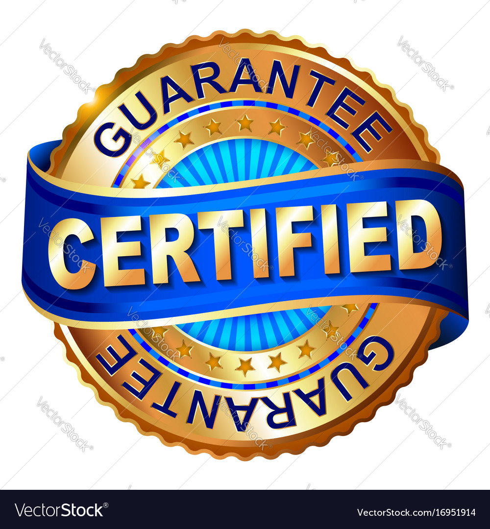 Certificated golden label with ribbon vector image