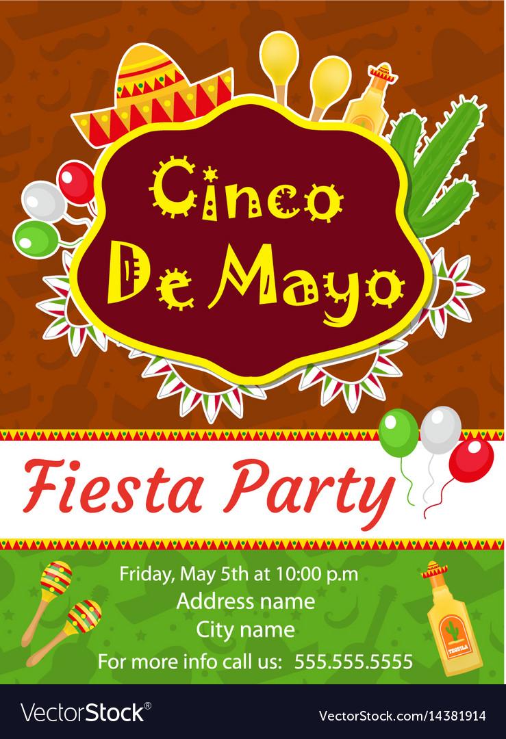 cinco de mayo invitation template flyer mexican vector image