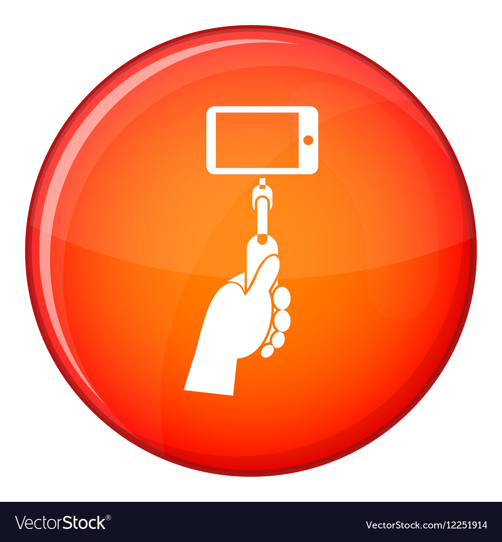Hand holding a selfie stick with mobile phone icon