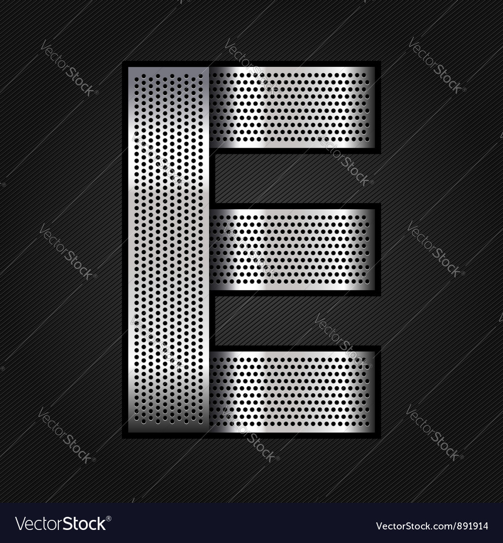Letter metal chrome ribbon - E