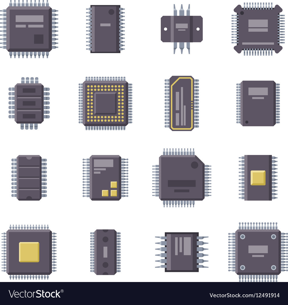 Micro chip isolated vector image