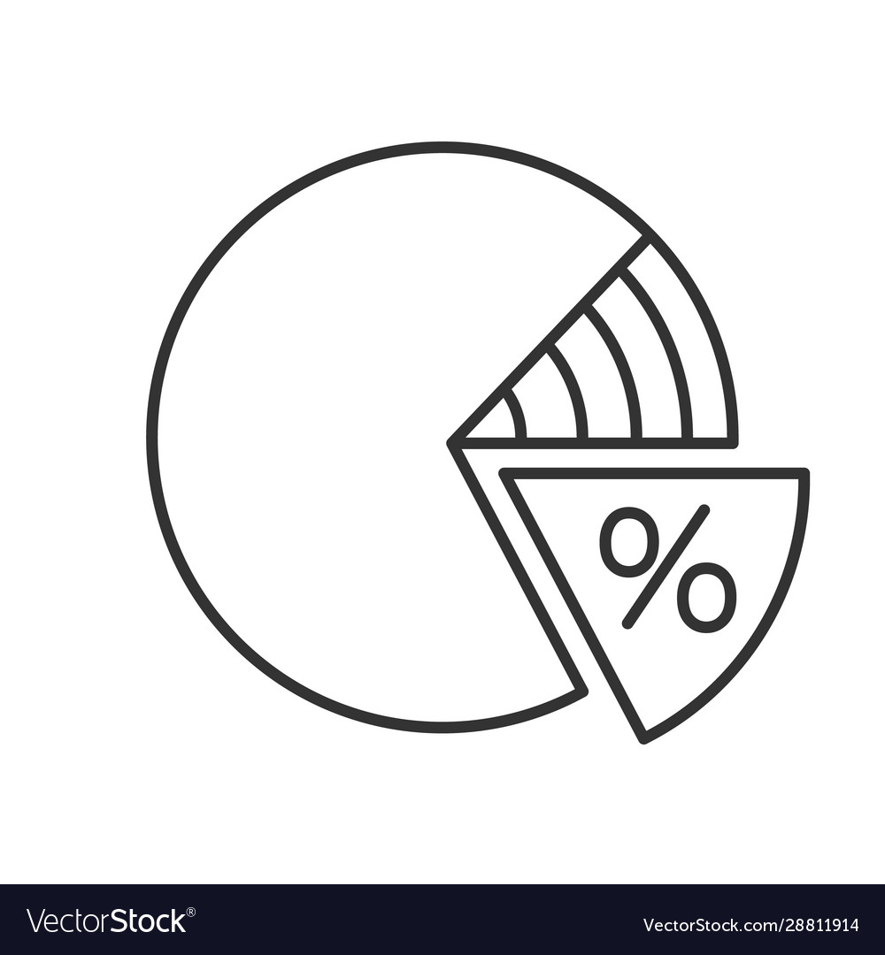 Percentage pie chart linear icon