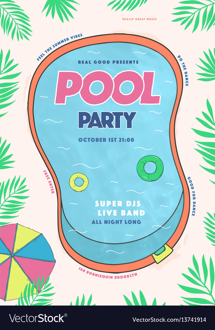 Pool party poster summer event festival