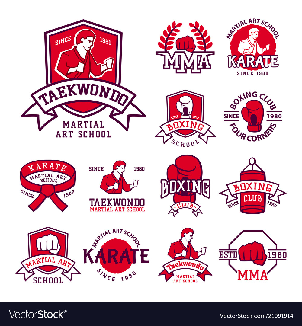 Set cool fighting club emblems martial training