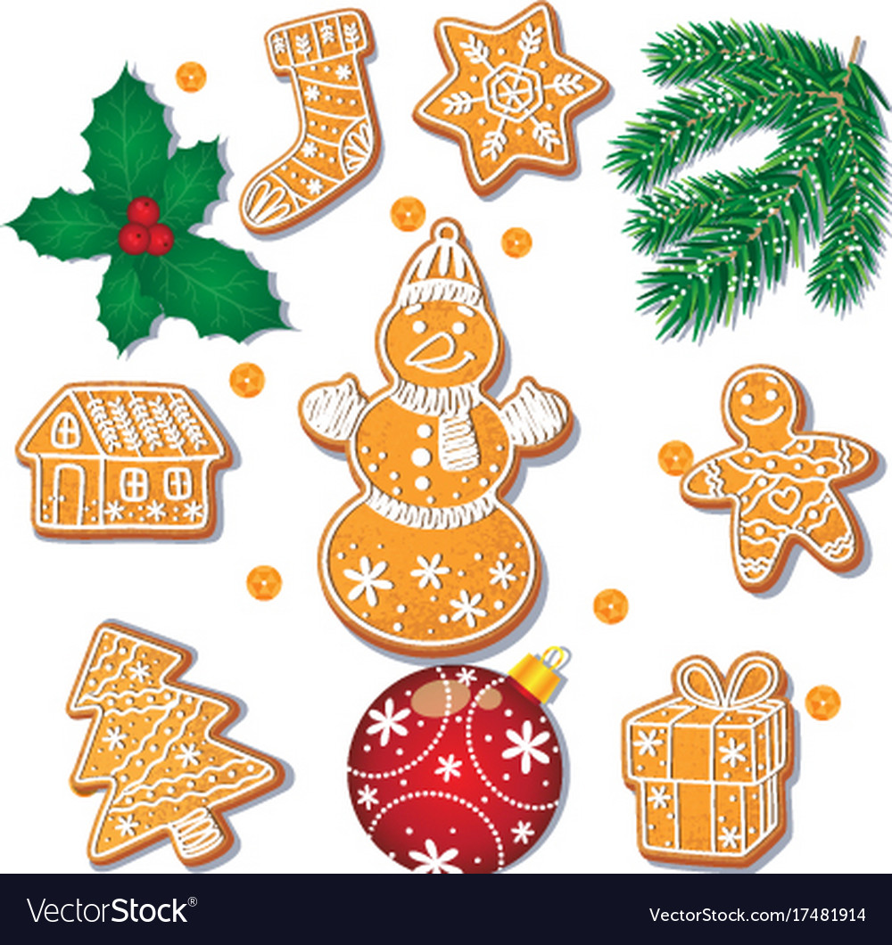 Set of christmas gingerbread cookies decorations