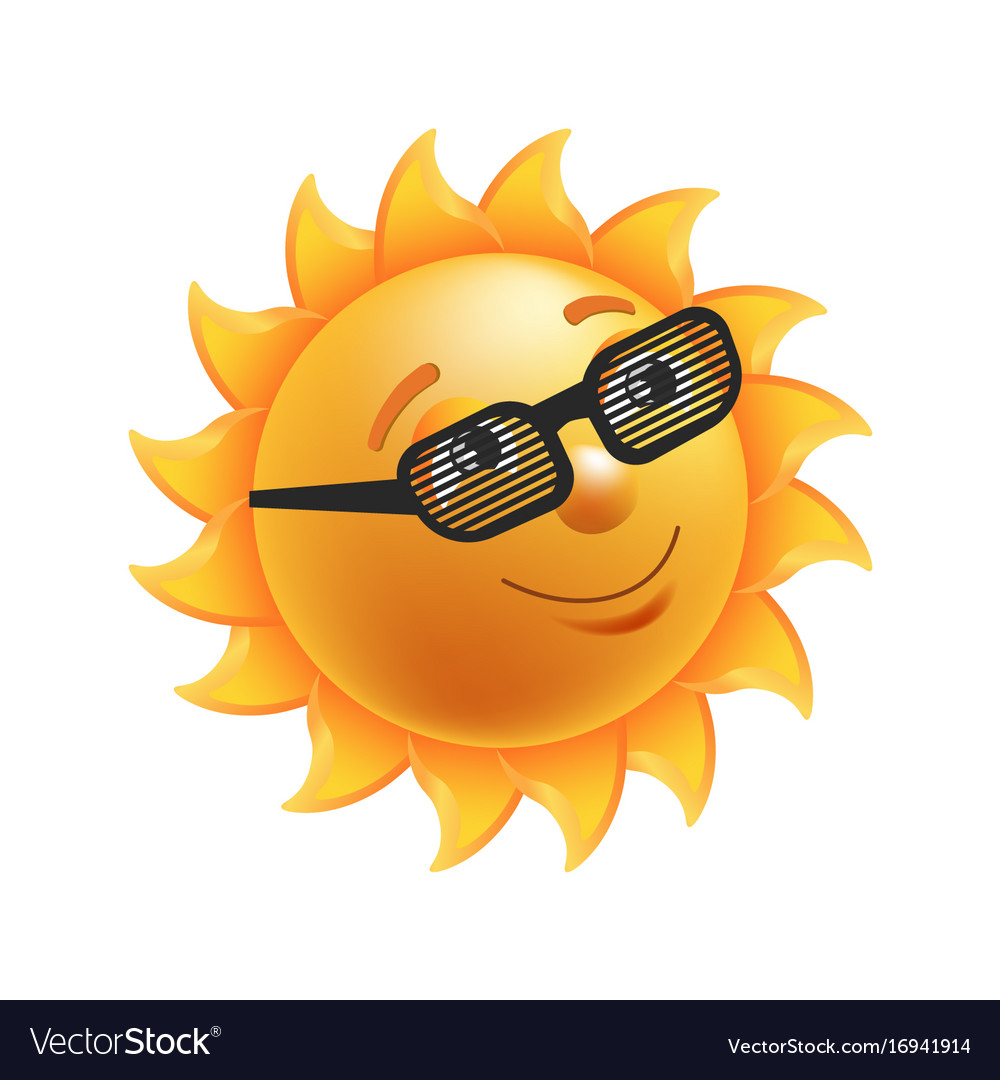 Shiny sun in black striped glasses isolated