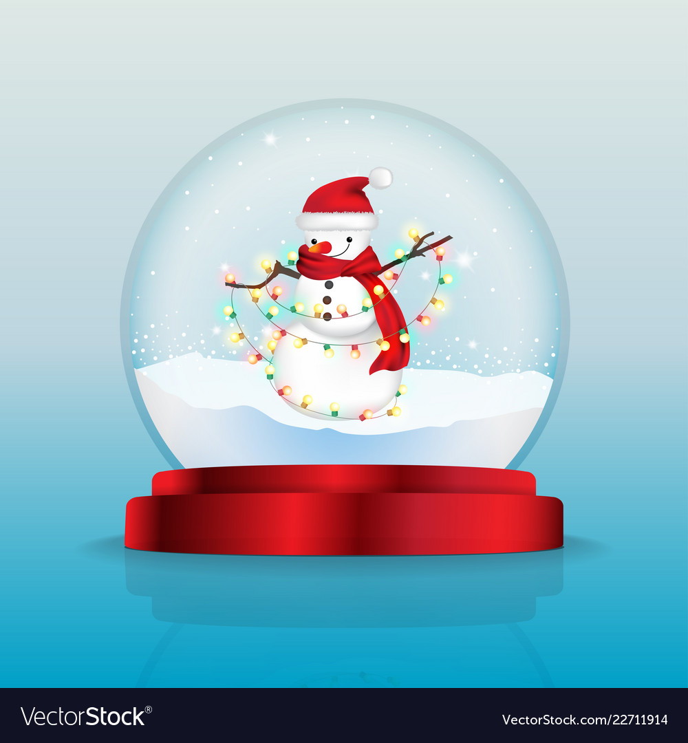 Snow globe with snowman with red scarf