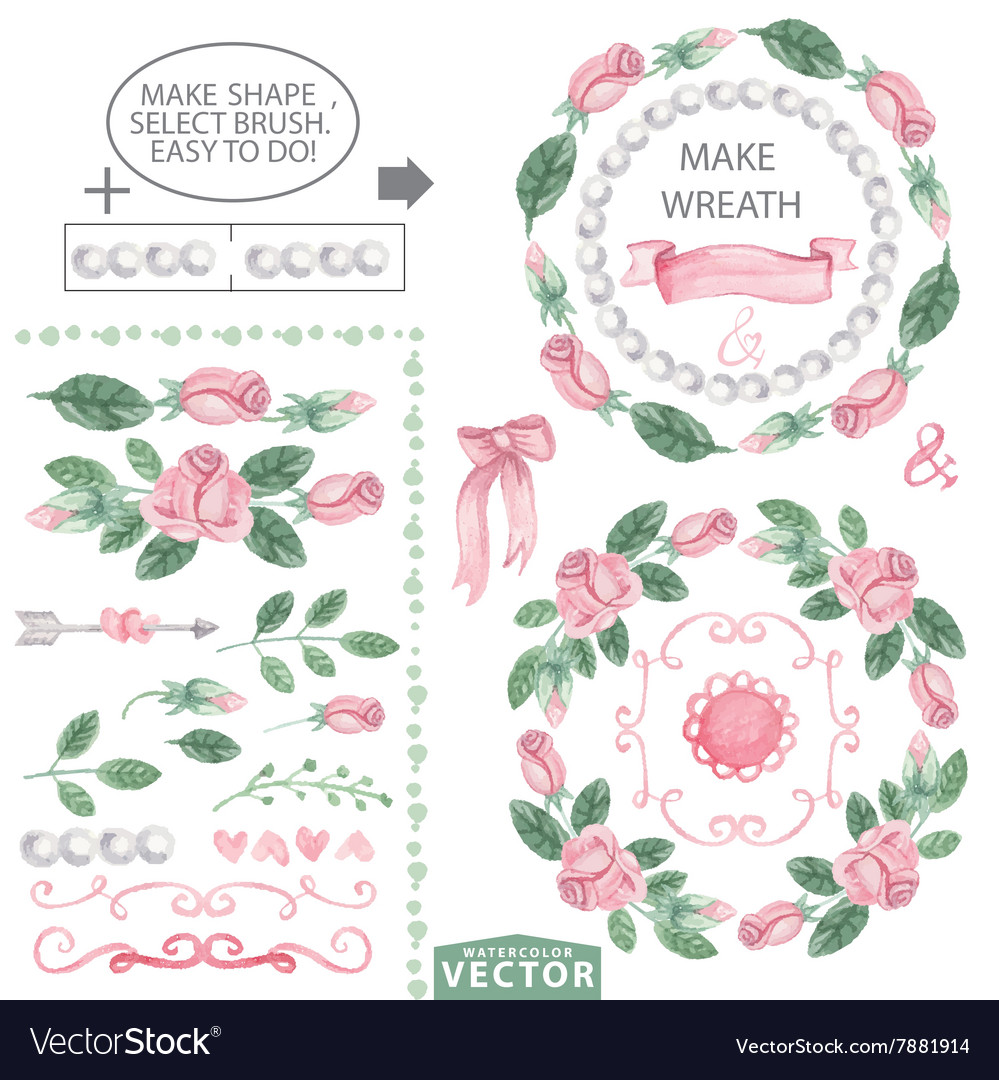 Watercolor pink roses decor brushes and wreath