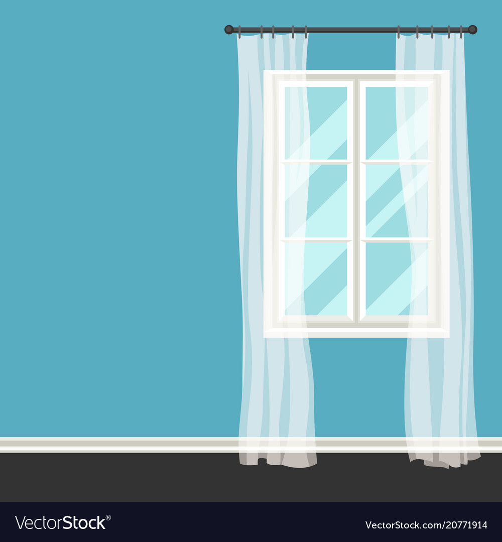 White plastic window with transparent curtains on