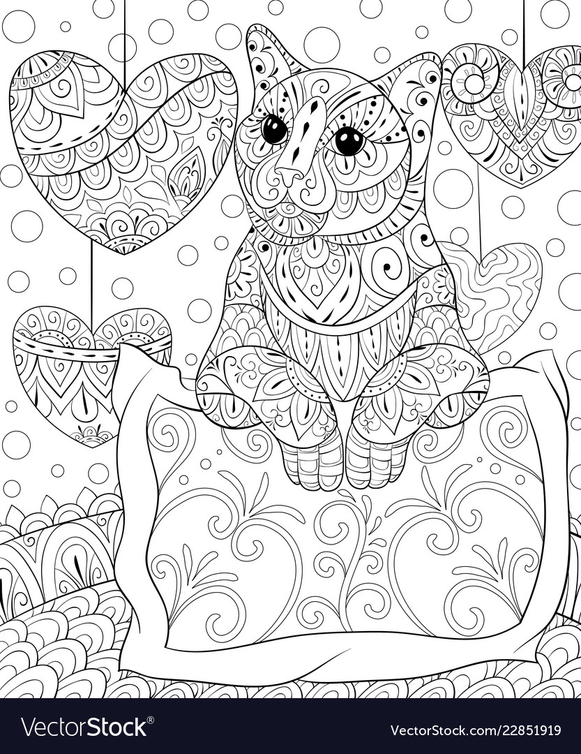 Adult coloring bookpage a cute cat on the pillow