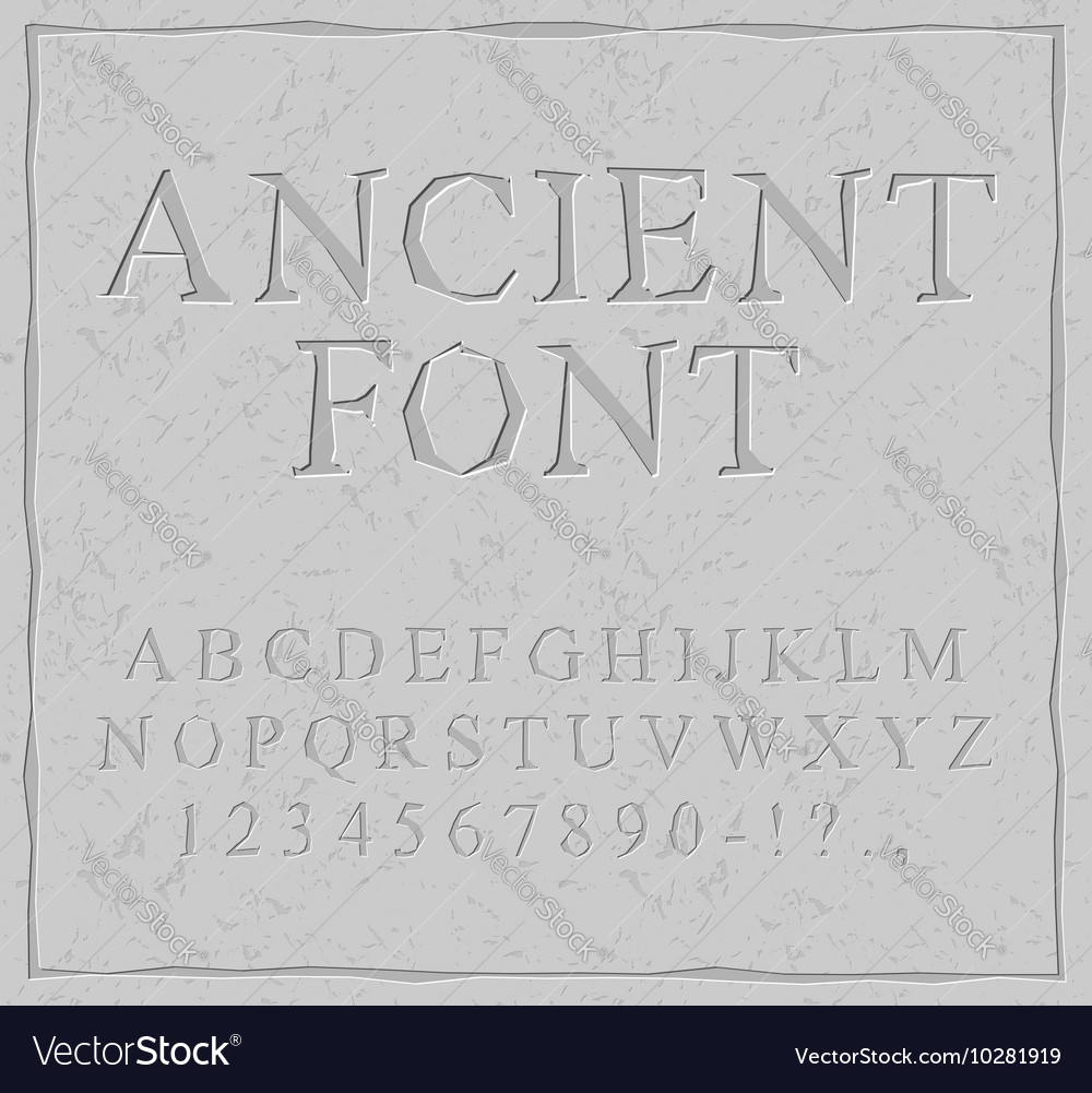 Ancient font Carved on stone plate alphabet
