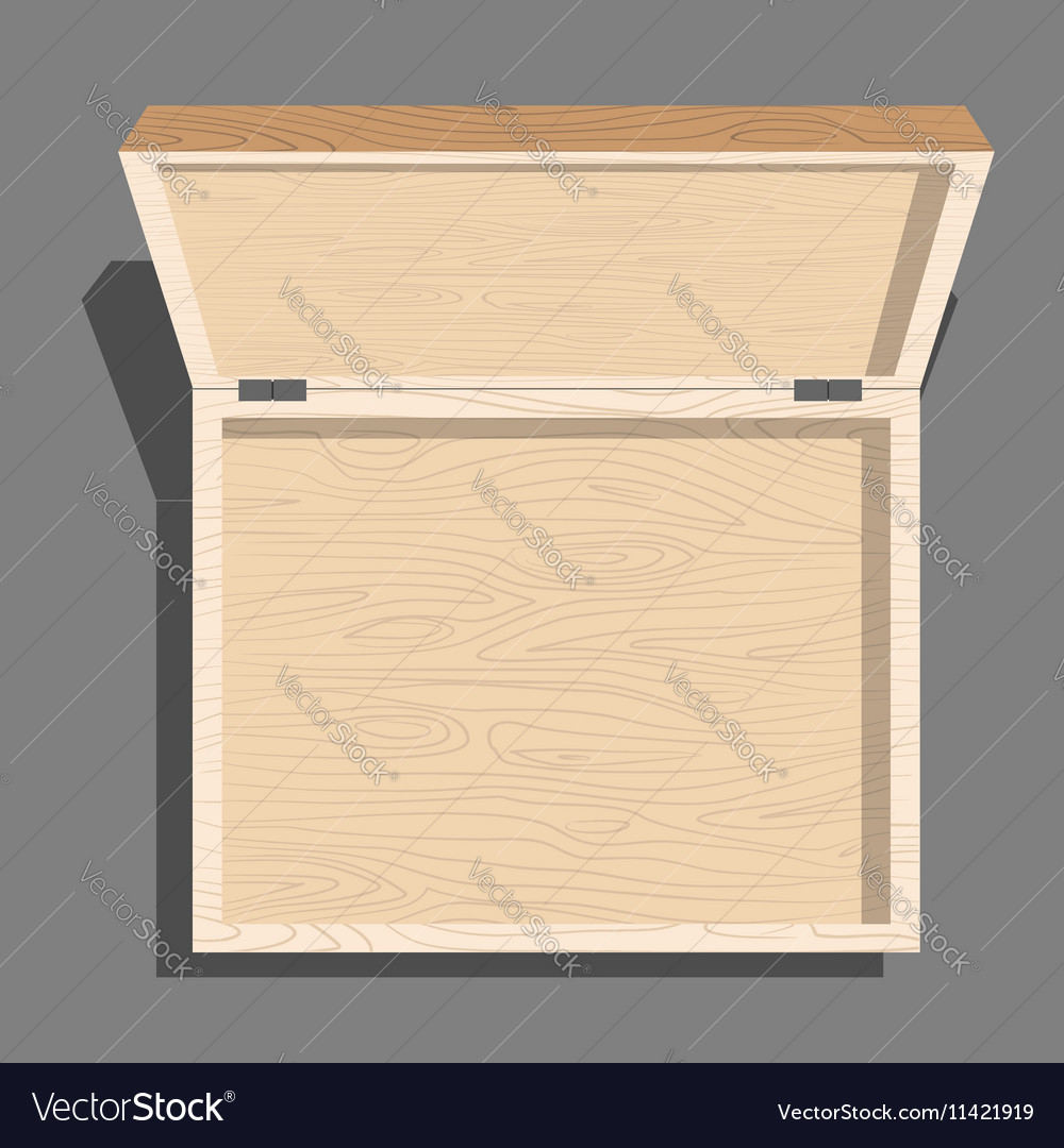 empty open wooden box top view case isolated from vector image