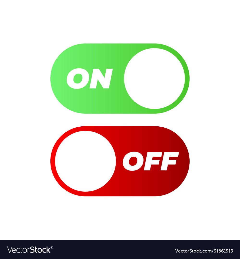 Flat icon on and off toggle switch button format