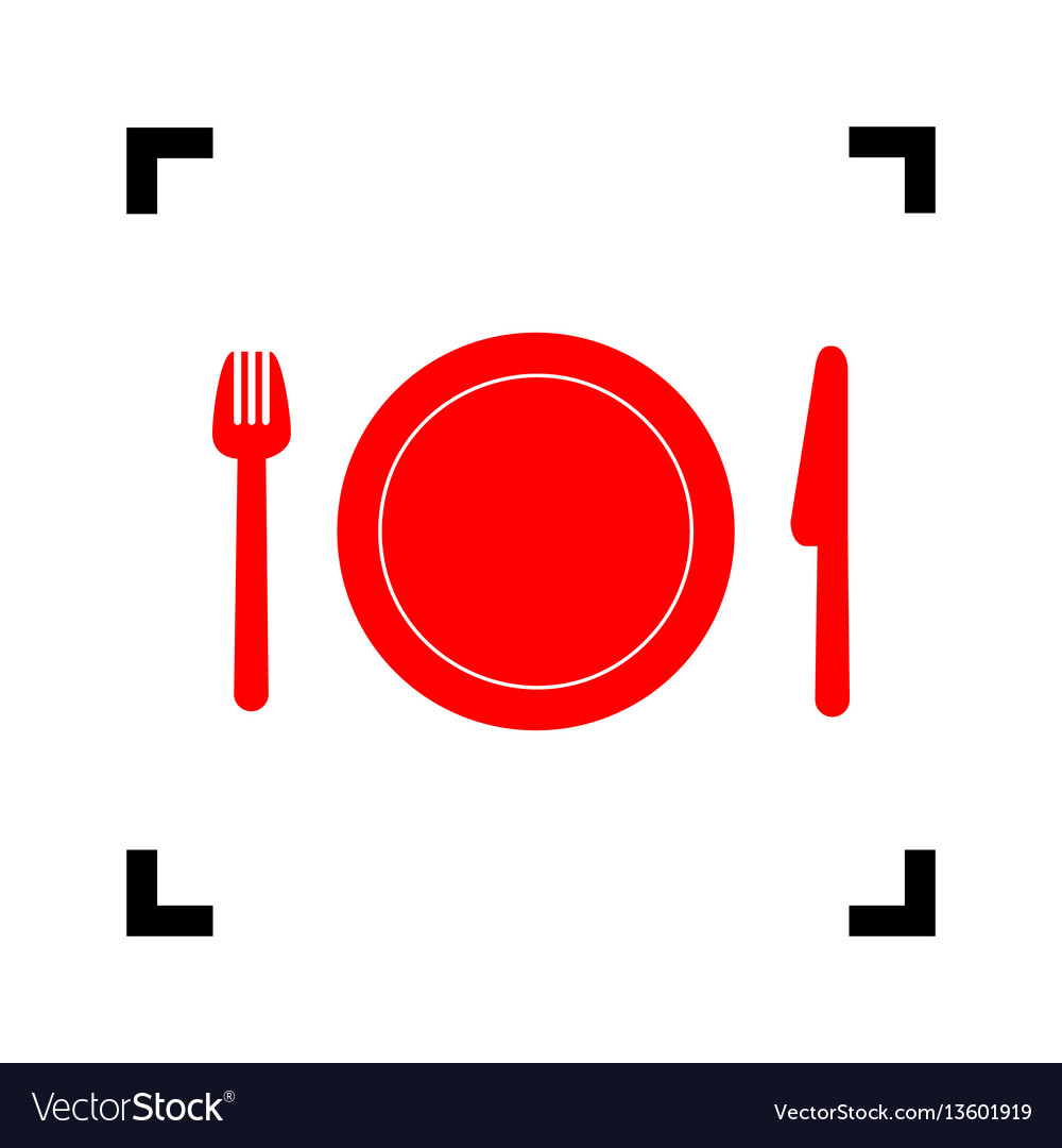 Fork plate and knife red icon inside