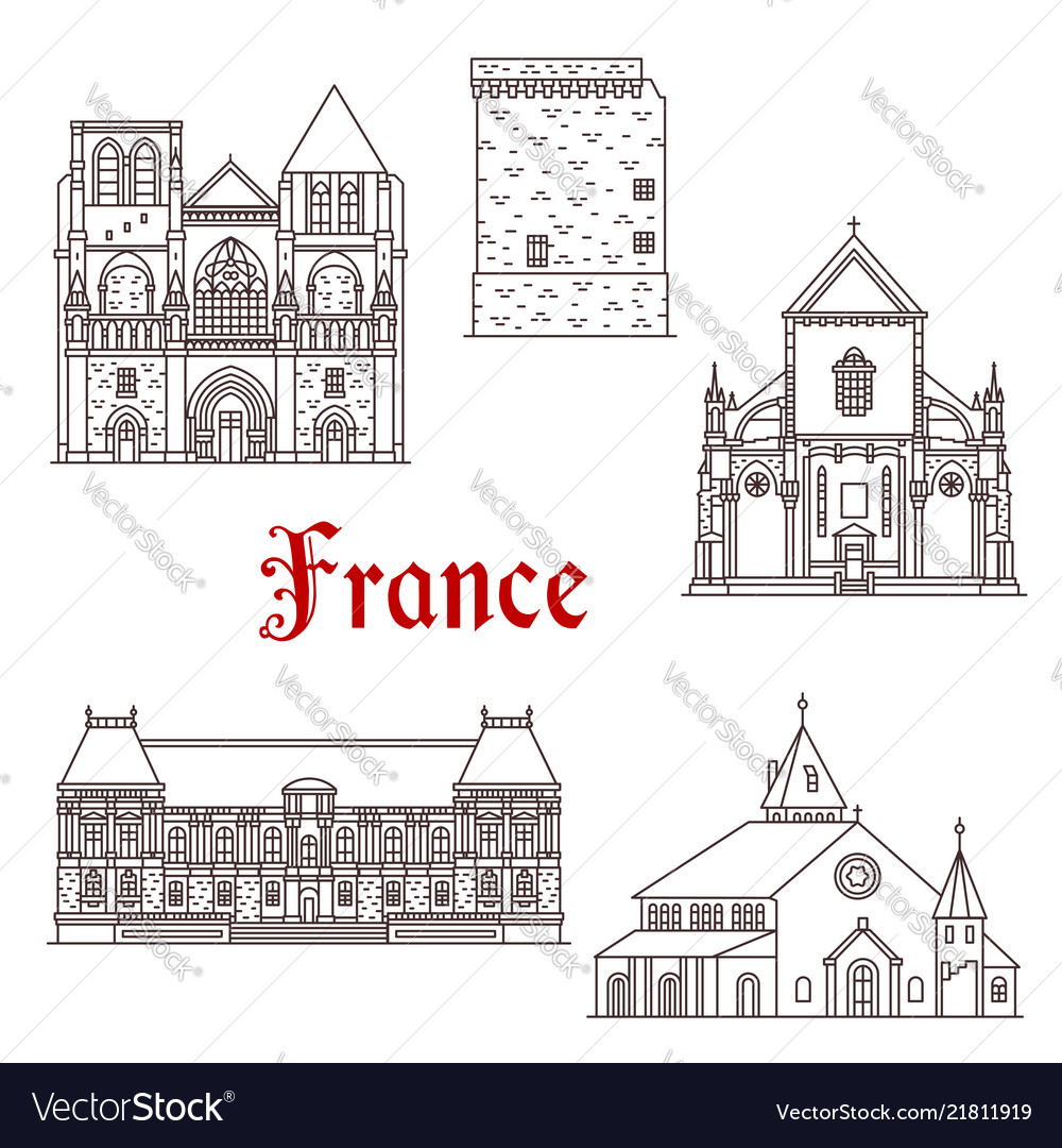 France architecture line icons in brittany