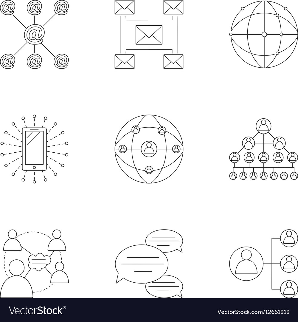 Global network icons set outline style
