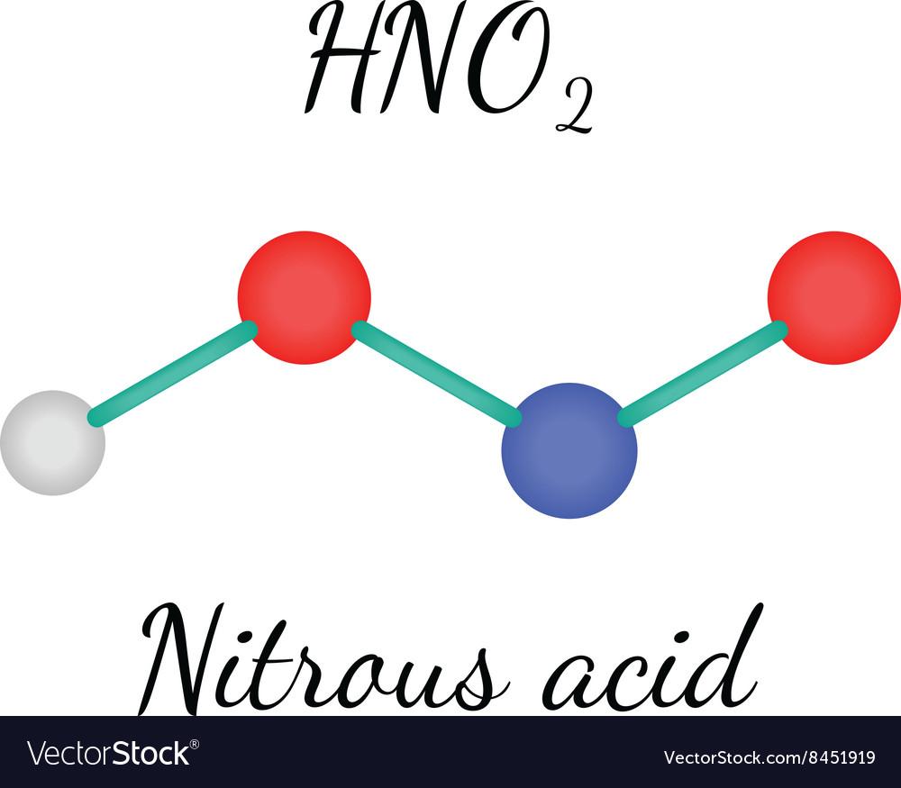 hno2 nitrous acid molecule royalty free vector image