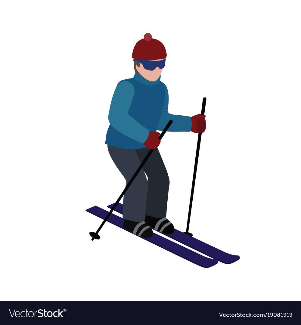 Isometric isolated man skiing cross country