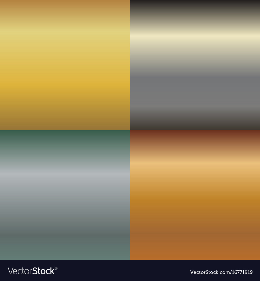 Metal texture pattern set metallic gold and vector image
