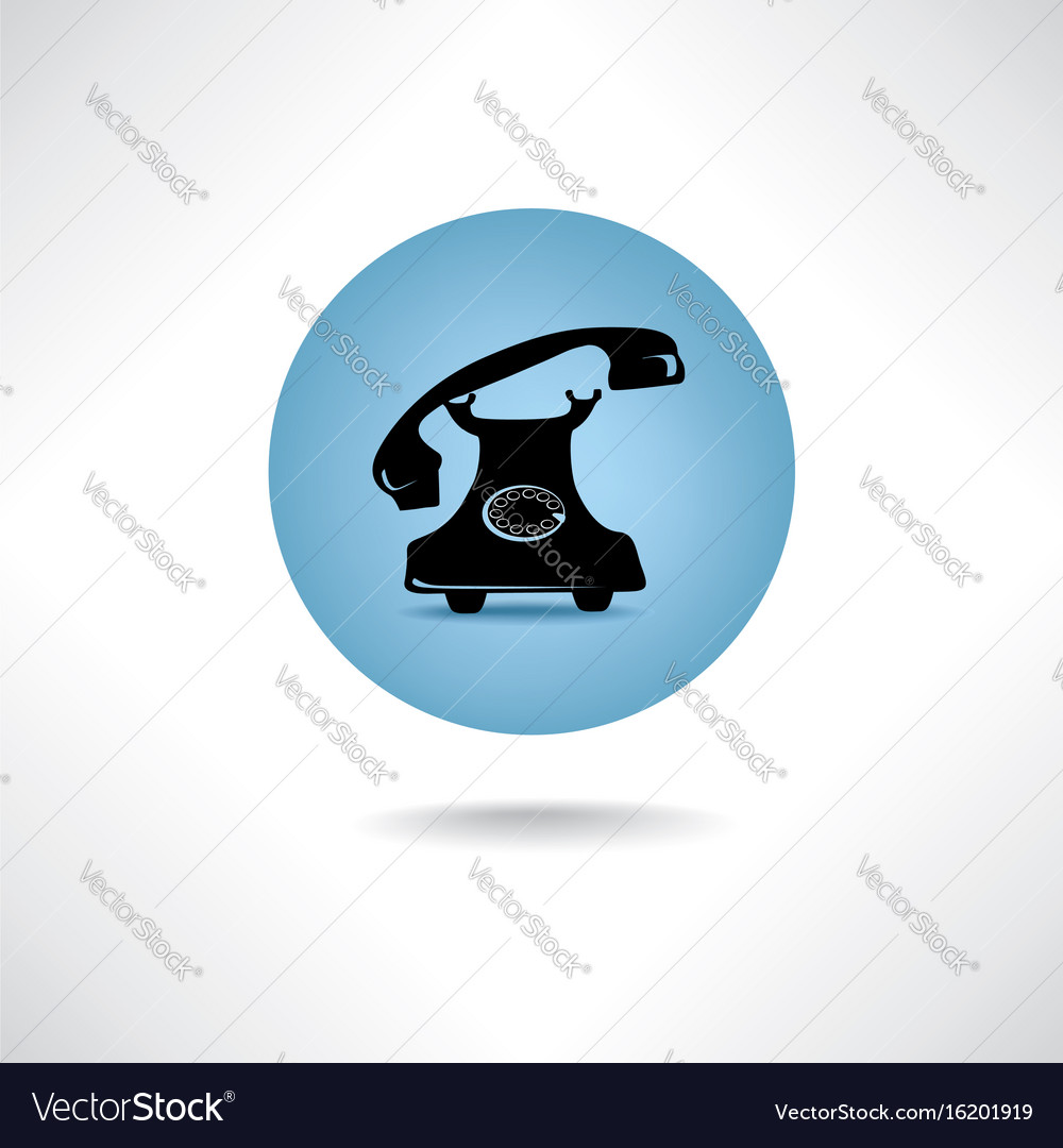 Old phone icon retro phone symbol handset sign