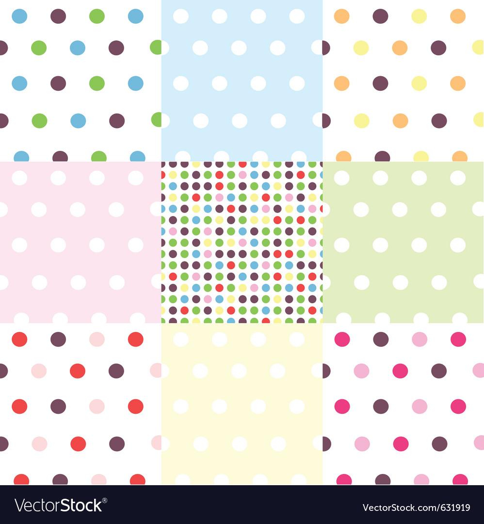 Seamless patterns - polka dots set vector image