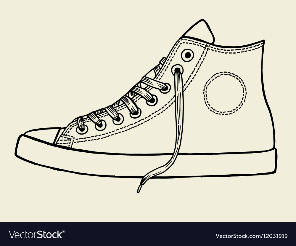 7d4c265d21d9 Sport shoes sketch Royalty Free Vector Image - VectorStock