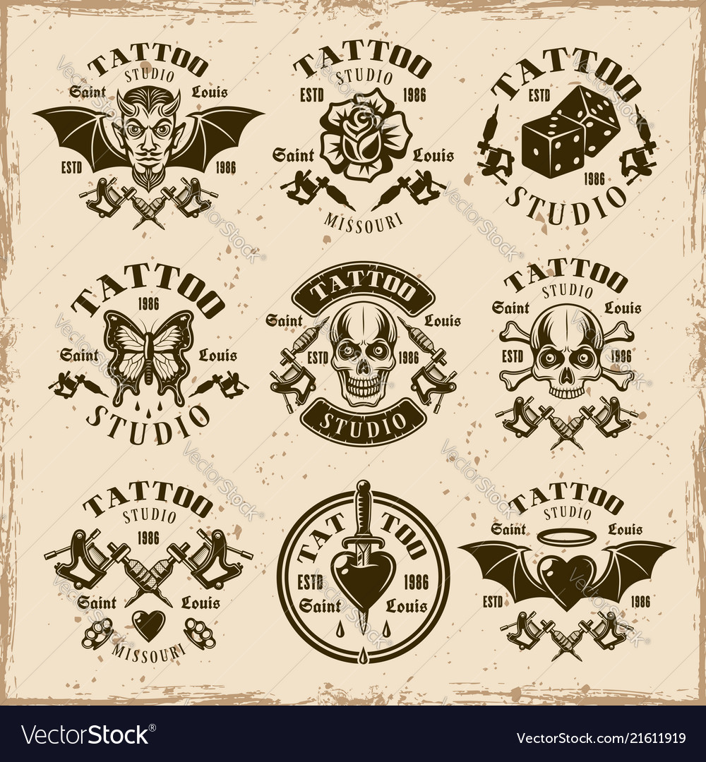 Tattoo studio emblems in vintage style
