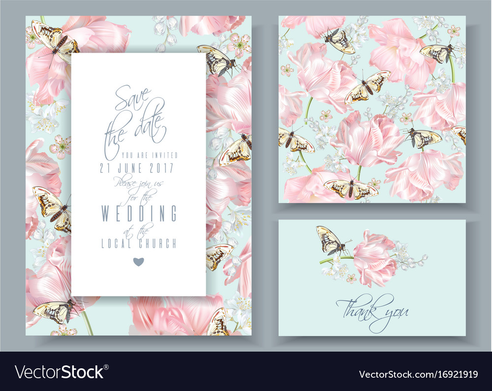 Tulip butterfly invitation cards set Royalty Free Vector