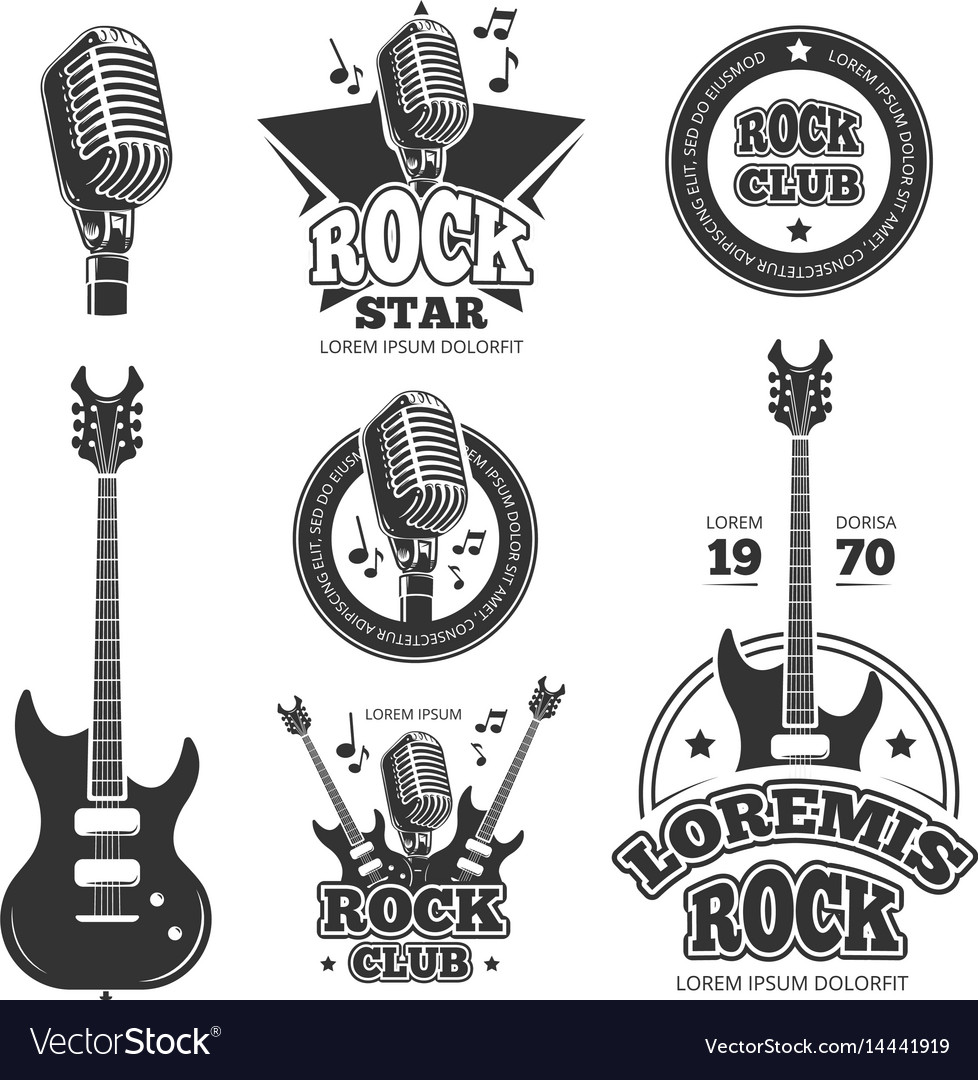 Vintage rock and roll music labels emblems