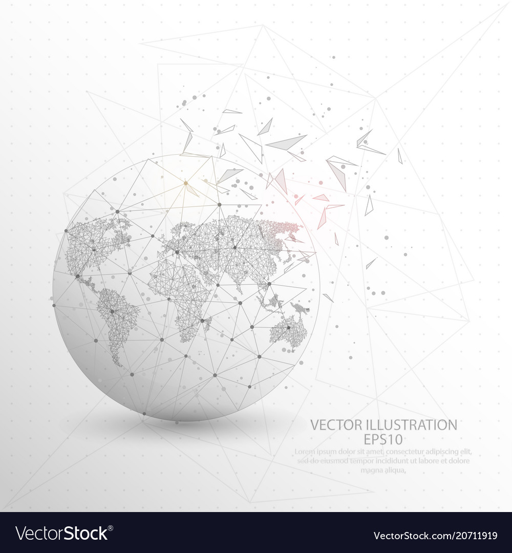 World map globe digitally drawn low poly triangle vector image