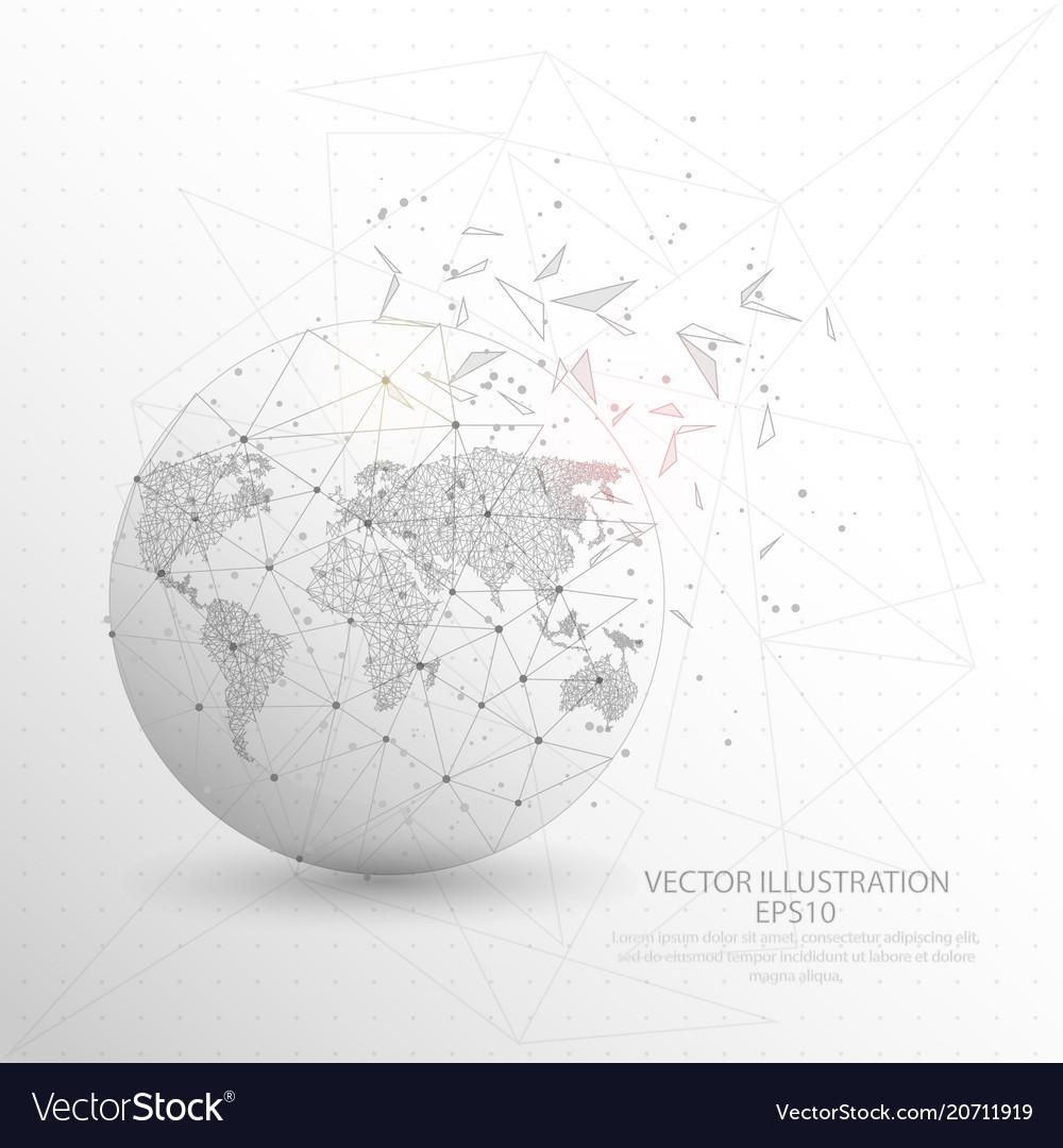 World map globe digitally drawn low poly triangle