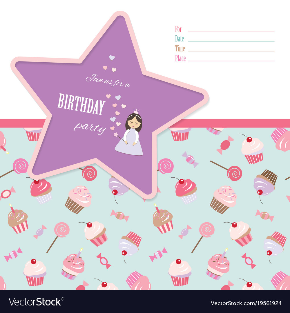 Birthday invitation card template Royalty Free Vector Image