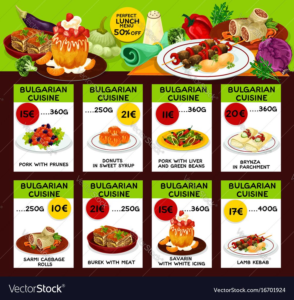 bulgarian cuisine restaurant lunch menu template vector image