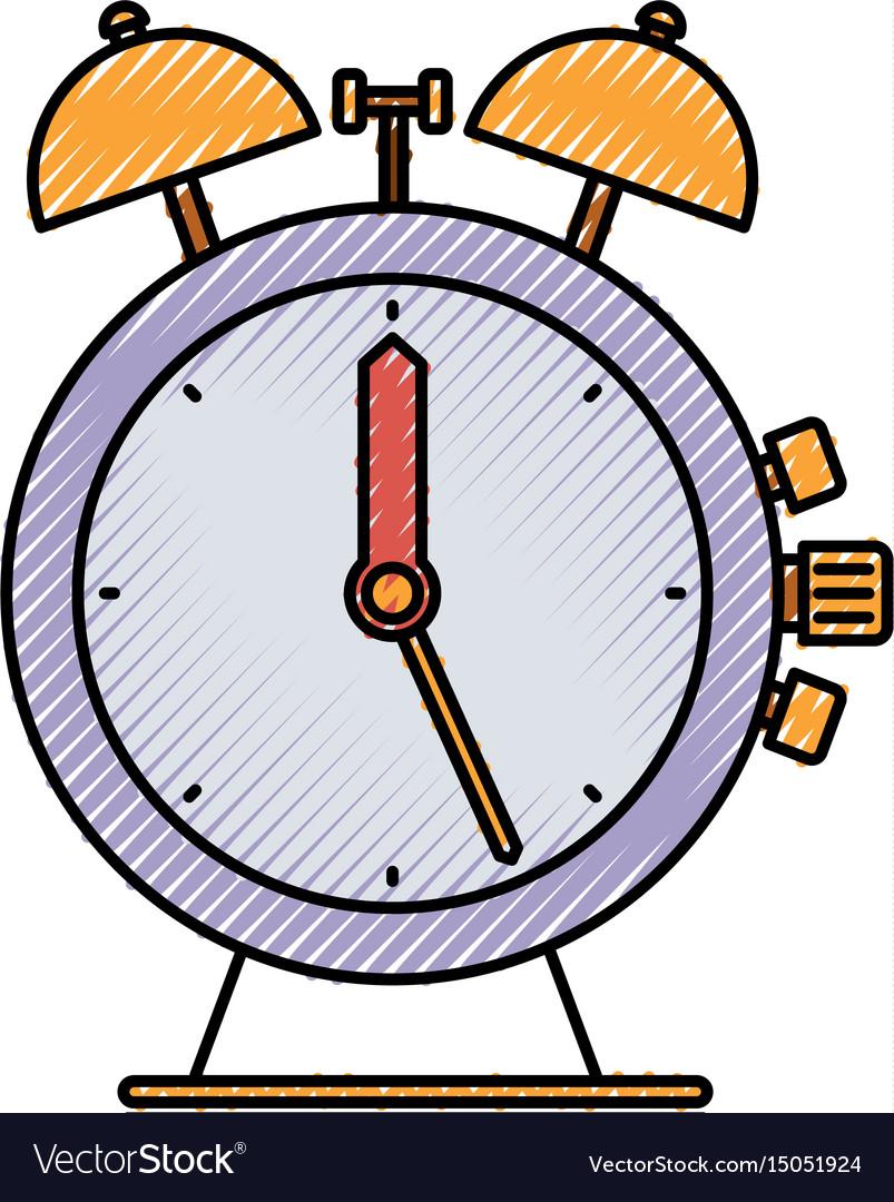 colored crayon silhouette of antique alarm clock vector image rh vectorstock com alarm clock vector free icon alarm clock vector free