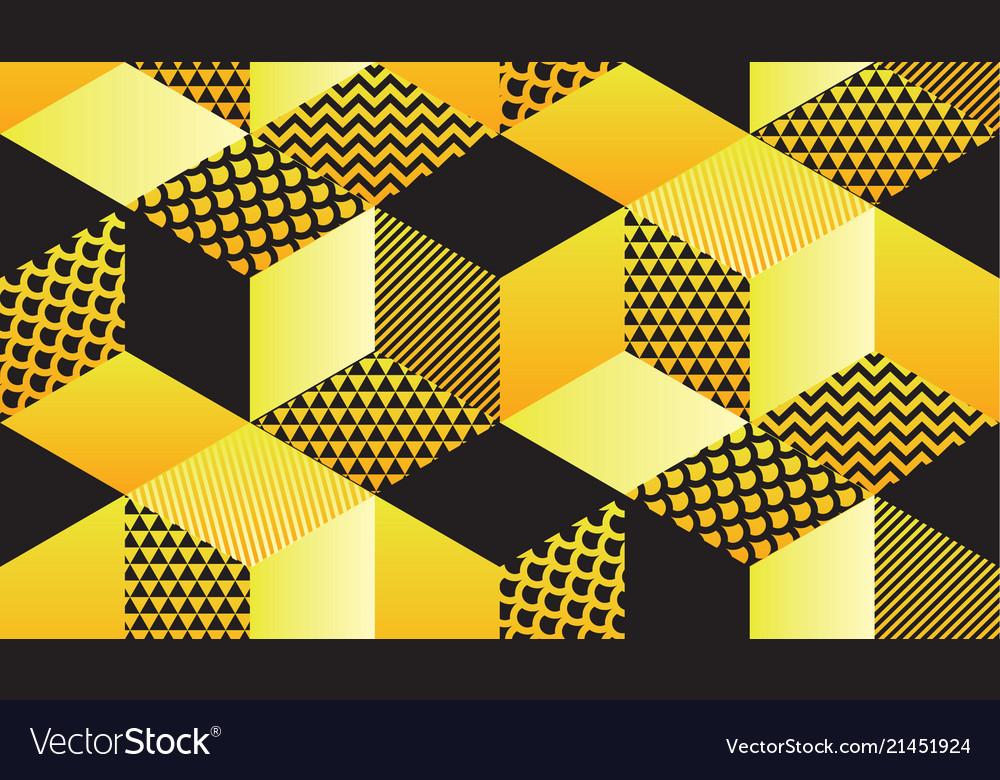 Cool retro 90s geometric hexagon seamless motif