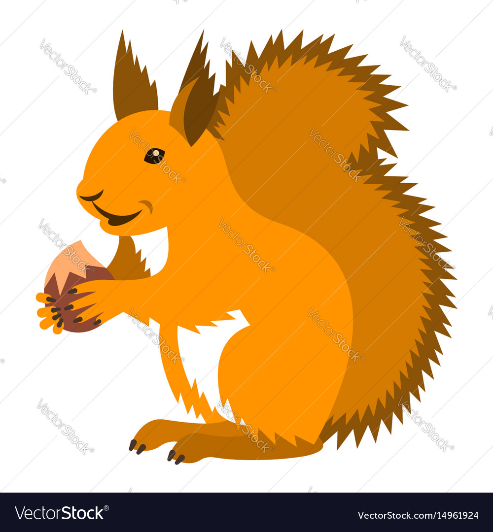 Cute smiling red squirrel with nut cartoon