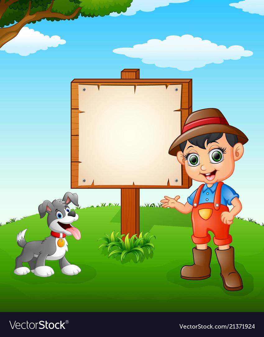 Farmer cartoon on farmland with blank sign