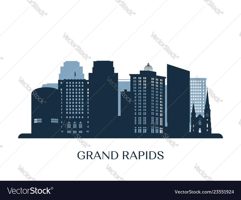 Grand rapids skyline monochrome silhouette
