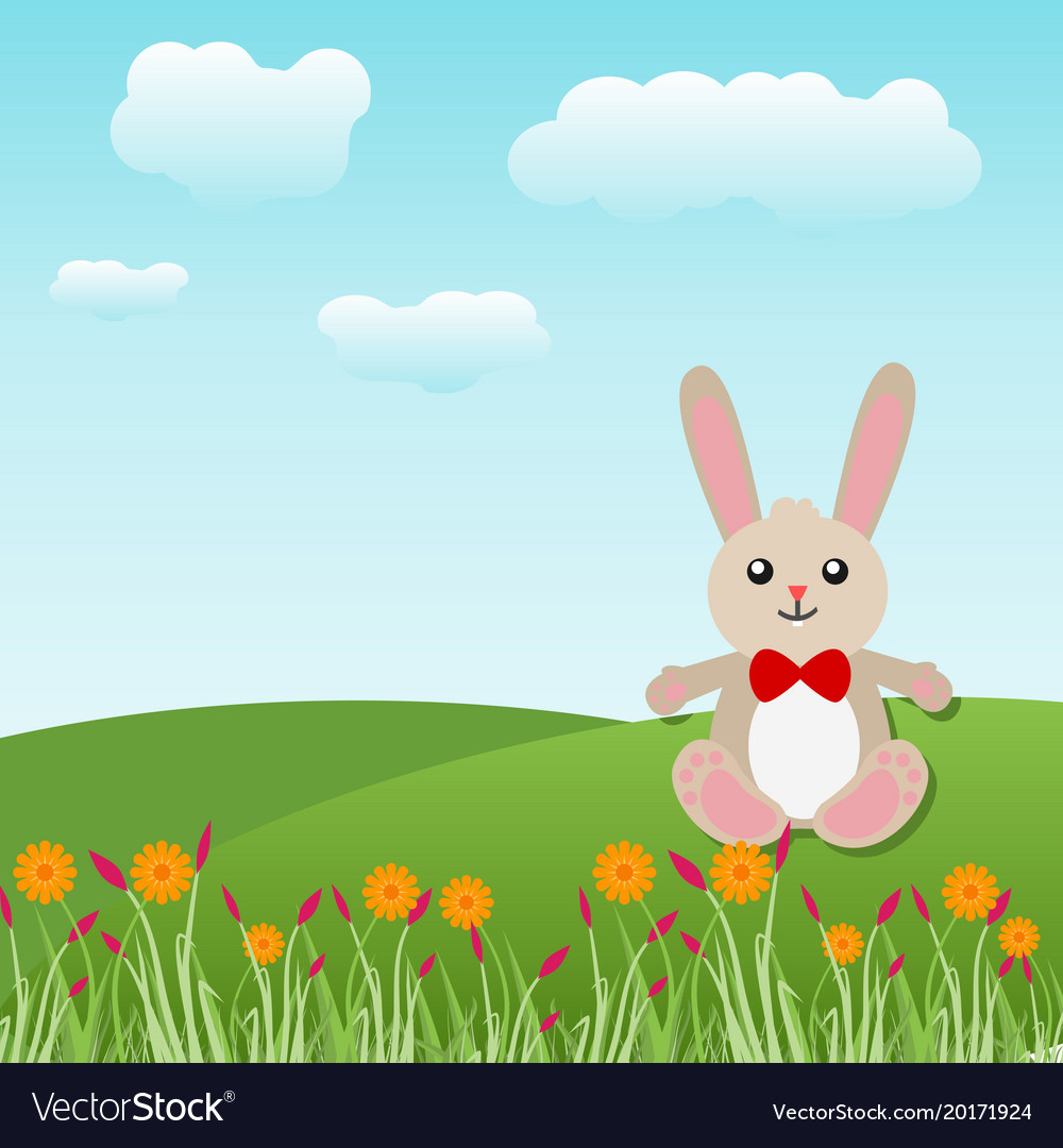 happy easter bunny in a landscape background vector image