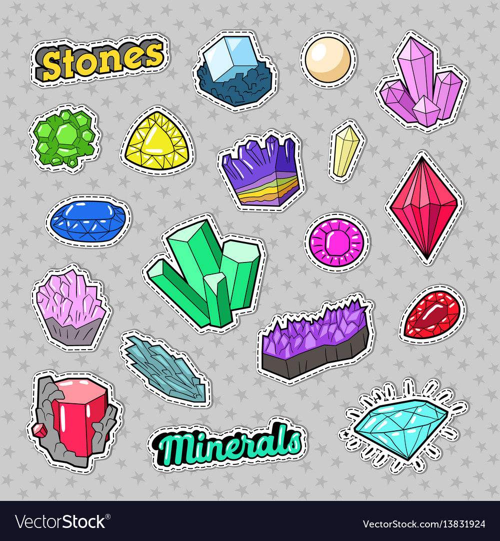 Jewels stones and minerals colorful set