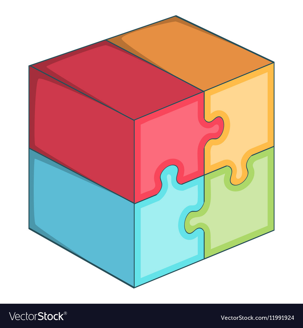 Puzzle cube icon cartoon style